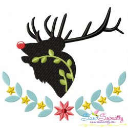 Red Nosed Reindeer Silhouette-5 Embroidery Design