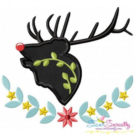 Red Nose Reindeer Silhouette-5 Applique Design