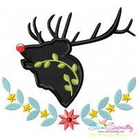 Red Nosed Reindeer Silhouette-5 Applique Design
