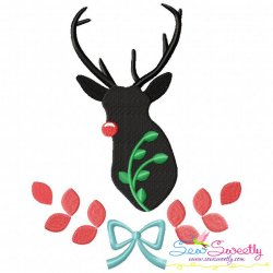 Free Red Nose Reindeer Silhouette-4 Embroidery Design- Category- Christmas Designs- 1