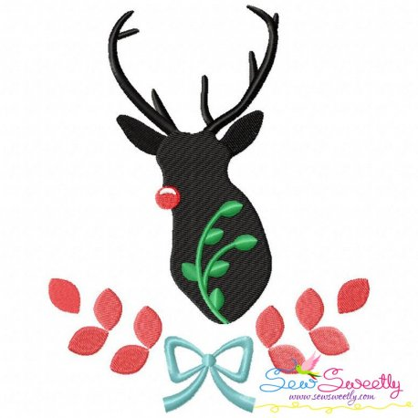 Red Nose Reindeer Silhouette-4 Embroidery Design