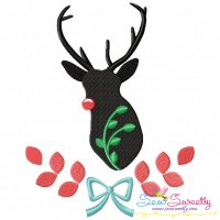 Red Nosed Reindeer Silhouette-4 Embroidery Design
