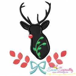 Red Nosed Reindeer Silhouette-4 Applique Design