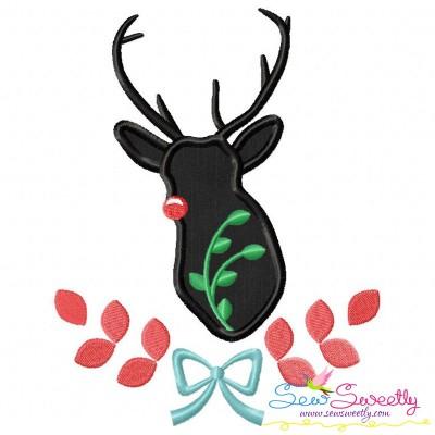 Red Nosed Reindeer Silhouette-4 Applique Design