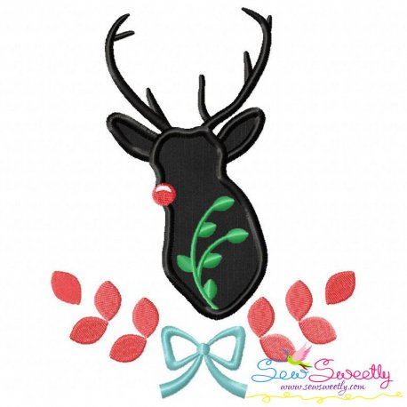 Red Nose Reindeer Silhouette-4 Applique Design