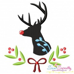Red Nosed Reindeer Silhouette-3 Embroidery Design
