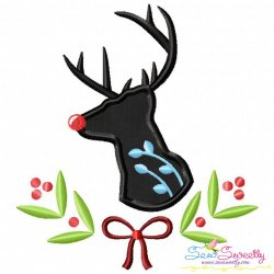 Red Nosed Reindeer Silhouette-3 Applique Design