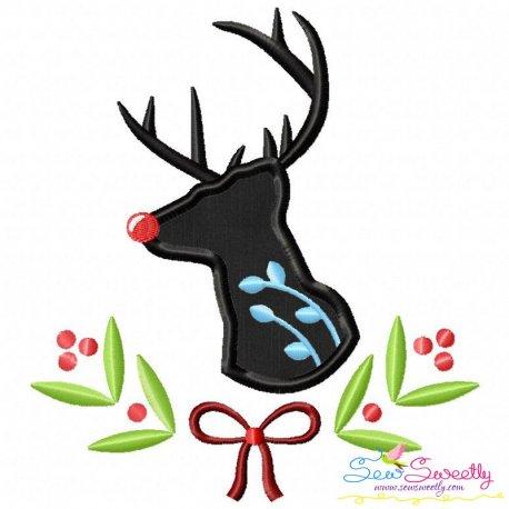 Red Nose Reindeer Silhouette-3 Applique Design