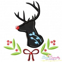 Red Nosed Reindeer Silhouette-3 Applique Design