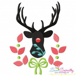 Red Nose Reindeer Silhouette-2 Embroidery Design