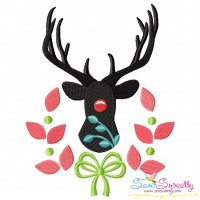 Red Nosed Reindeer Silhouette-2 Embroidery Design