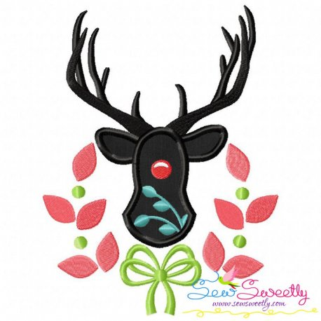 Red Nose Reindeer Silhouette-2 Applique Design