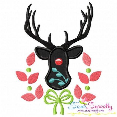 Red Nose Reindeer Silhouette-2 Applique Design