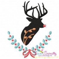 Red Nosed Reindeer Silhouette-1 Embroidery Design