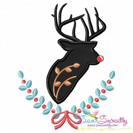 Red Nose Reindeer Silhouette-1 Applique Design