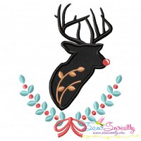Red Nosed Reindeer Silhouette-1 Applique Design