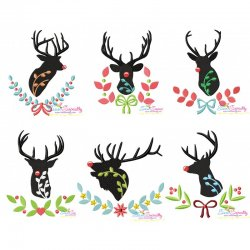 Red Nosed Silhouette Reindeers Embroidery Design Bundle