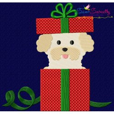 Christmas Bichon Frise Dog Embroidery Design