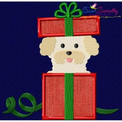 Christmas Bichon Frise Dog Applique Design