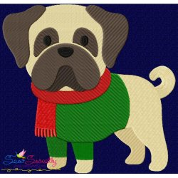 Christmas Pug Dog Embroidery Design