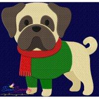 Christmas Pug Dog Embroidery Design