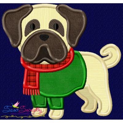 Christmas Pug Dog Applique Design