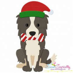 Christmas Collie Dog Embroidery Design
