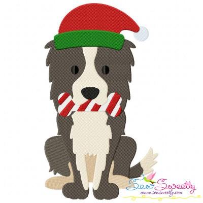 Christmas Collie Dog Embroidery Design