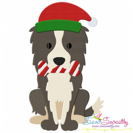 Christmas Collie Dog Embroidery Design Pattern- Category- Christmas Designs- 1