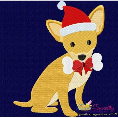 Christmas Chihuahua Dog Embroidery Design