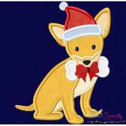 Christmas Chihuahua Dog Applique Design