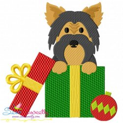 Christmas Yorkie Dog Embroidery Design