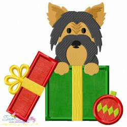 Free Christmas Yorkie Dog Applique Design