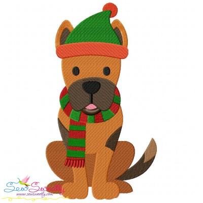 Christmas German Shepherd Dog Embroidery Design