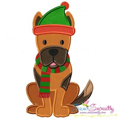 Christmas German Shepherd Dog Applique Design