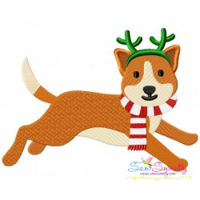 Christmas Corgi Dog Embroidery Design