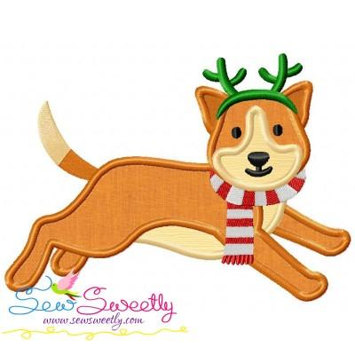 Christmas Corgi Dog Applique Design