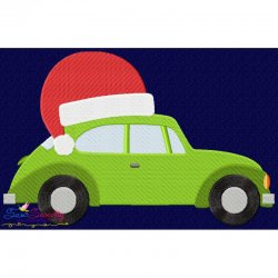 Christmas Bug Car- Santa Hat Embroidery Design