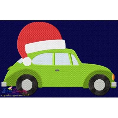 Free Christmas Bug Car- Santa Hat Embroidery Design