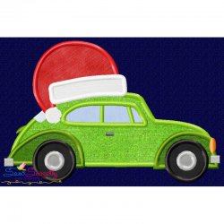 Christmas Bug Car- Santa Hat Applique Design