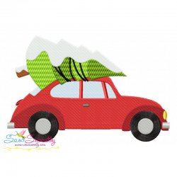 Christmas Bug Car- Tree Embroidery Design