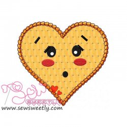 Orange Heart Applique Design