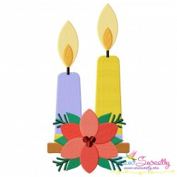 Christmas Candles Flowers Embroidery Design