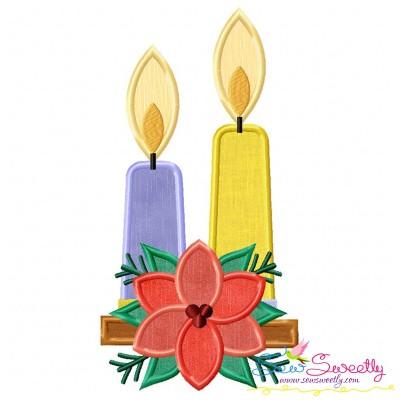 Christmas Candles Flowers Applique Design