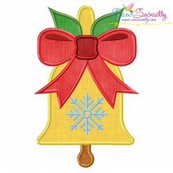 Christmas Bell Ribbon Applique Design
