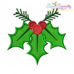 Christmas Holly Leaves-3 Applique Design