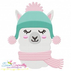 Winter Llama Embroidery Design