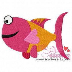 Smiling Valentine Fish Embroidery Design