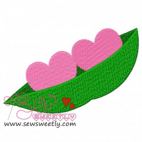 Two Hearts In a Pod Embroidery Design