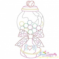 Valentine's Day Color Work- Candies Jar Embroidery Design